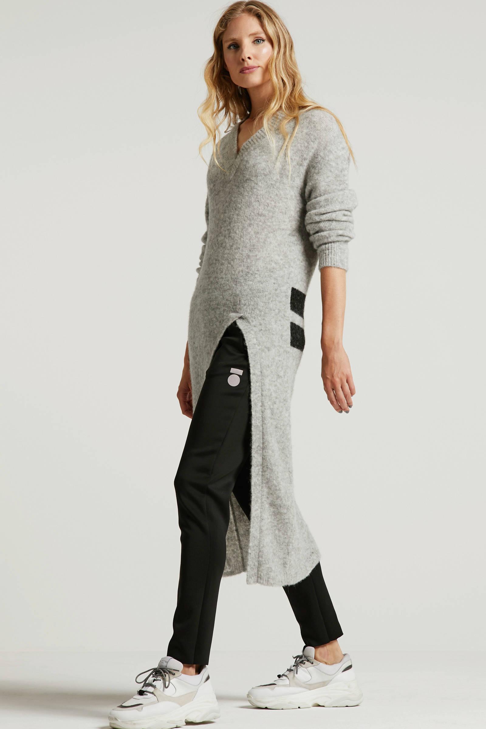 10DAYS gemêleerde trui met wol lichtgrijs