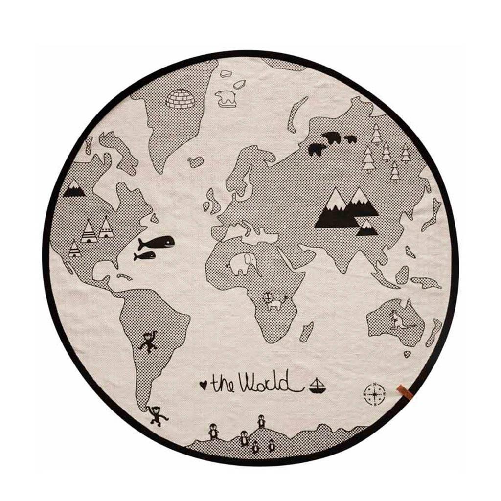 OYOY Living vloerkleed World  (135x135), Ecru/zwart
