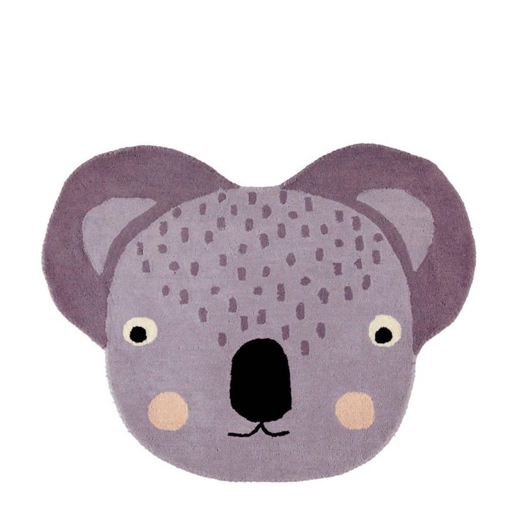 OYOY Living vloerkleed Koala  (85x100), Grijs/zwart