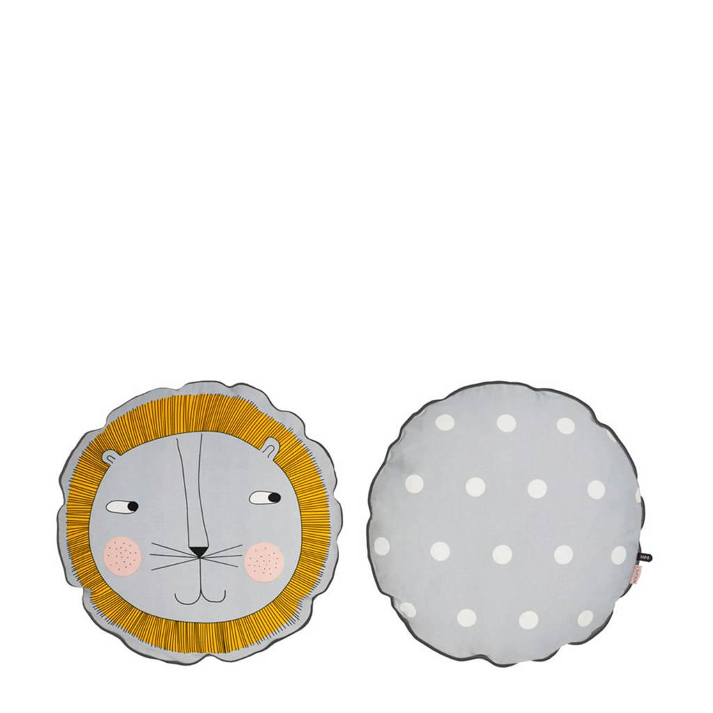 OYOY Mini sierkussen Lion (48x48 cm), Lichtgrijs/geel