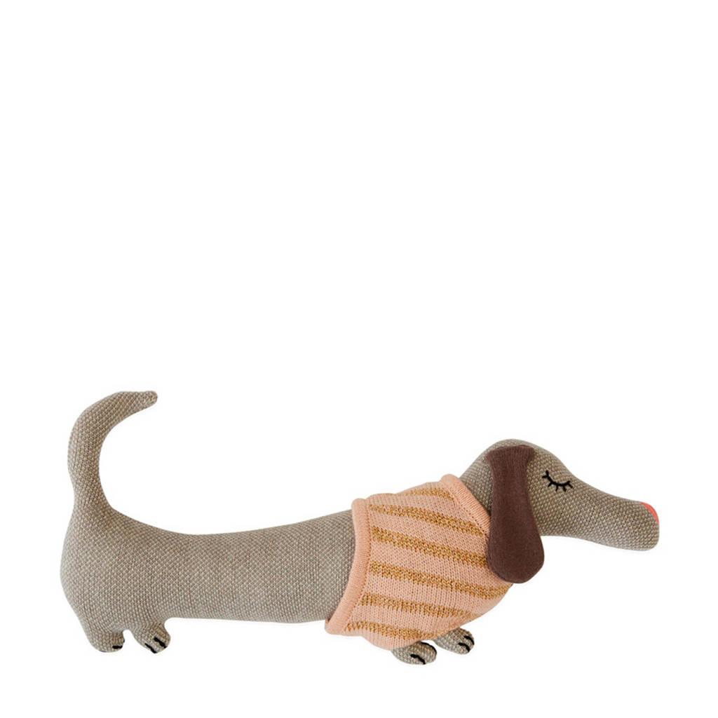 OYOY Mini sierkussen Daisy Dog (32x15 cm), Lichtgrijs/roze