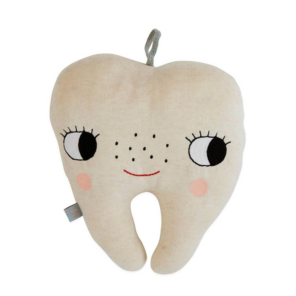 OYOY Mini sierkussen Tooth Fairy  (22x27 cm), Gebroken wit/Zwart