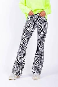 Colourful Rebel flared broek met zebraprint zwart/wit, Zwart/wit