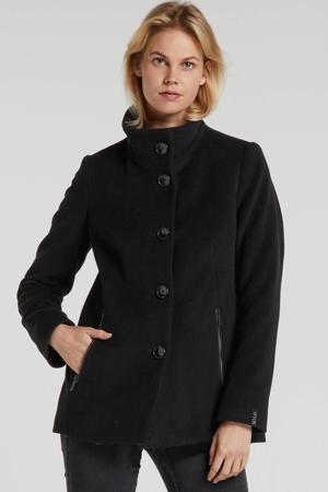 winterjas Janna met wol zwart