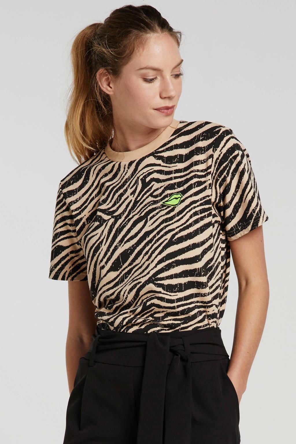 Colourful Rebel T-shirt met all over print beige/zwart, Beige/zwart