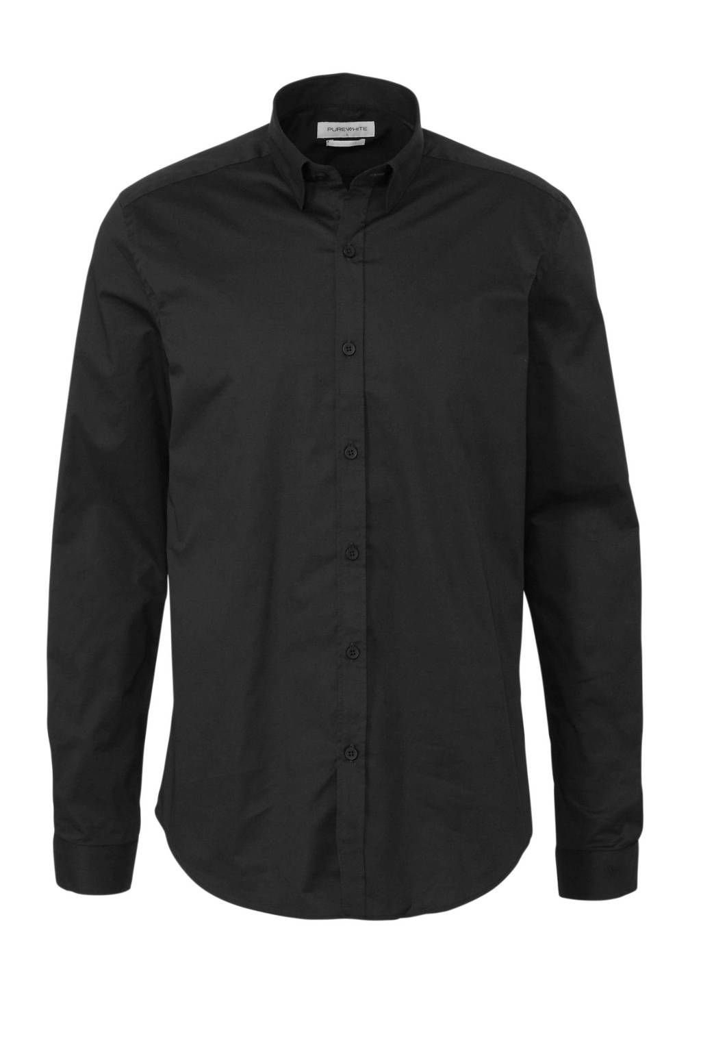 Purewhite slim fit overhemd 10201 zwart, Zwart