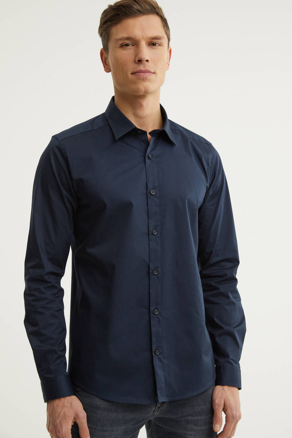 Purewhite slim fit overhemd marine, Marine