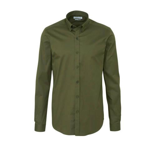 Purewhite slim fit overhemd donkergroen