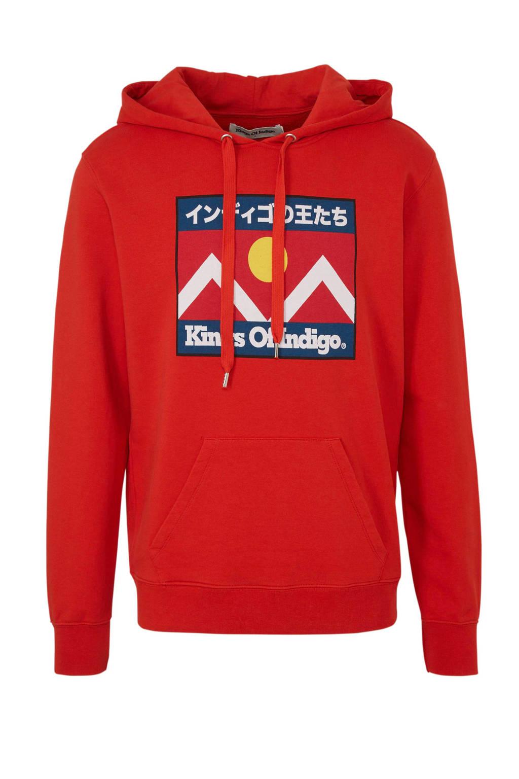 Kings of Indigo hoodie van biologisch katoen rood, Rood