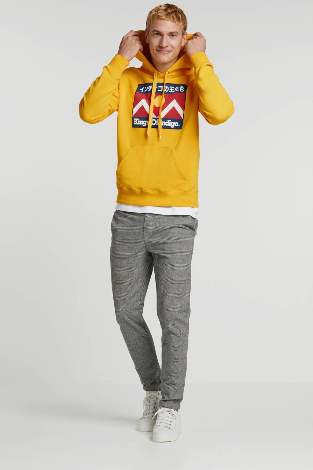 Kings of Indigo hoodie met printopdruk geel, Geel