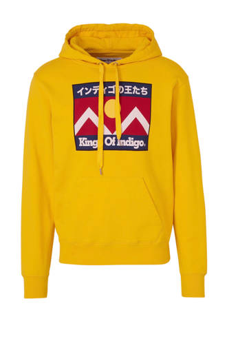hoodie met printopdruk yellow mountain flag