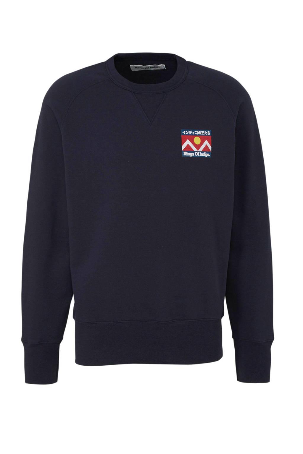 Kings of Indigo sweater van biologisch katoen marine, Marine