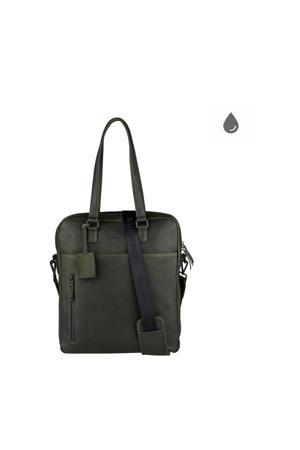 Rain Riley  leren shoppertas groen