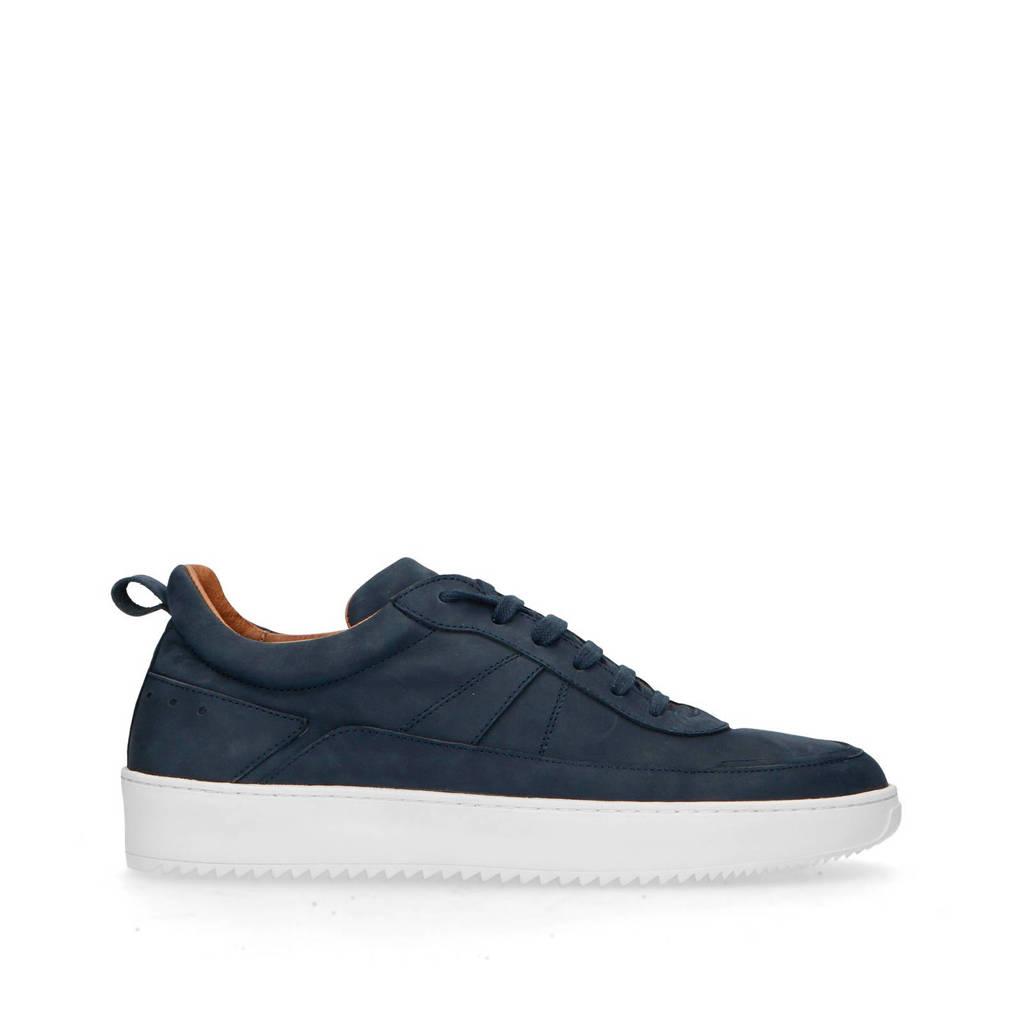 Manfield   nubuck sneakers donkerblauw, Blauw