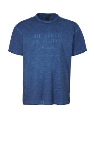 +size T-shirt met printopdruk en textuur blauw