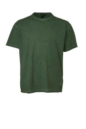 +size T-shirt met printopdruk en textuur groen
