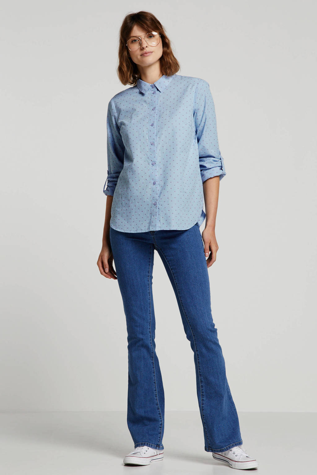 Tom Tailor blouse met all over print lichtblauw/ rood, Blauw