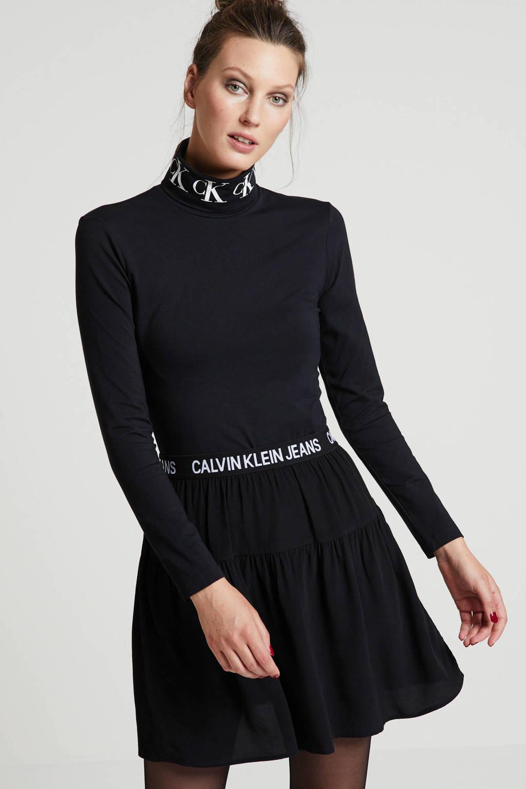 Calvin Klein Jeans top met logo zwart, Zwart
