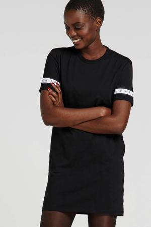 T-shirtjurk met contrastbies zwart
