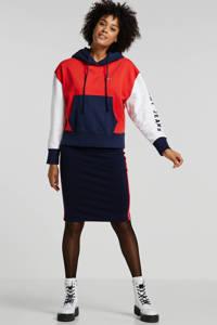 Tommy Jeans hoodie met logo en borduursels rood/donkerblauw/wit, Rood/donkerblauw/wit