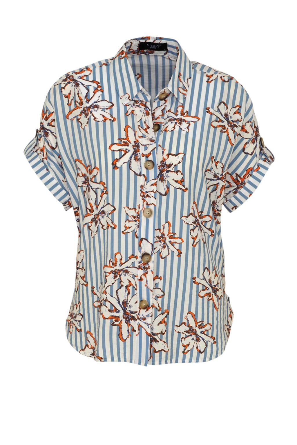 SisterS Point gestreepte blouse blauw/wit/oranje, Blauw/wit/oranje