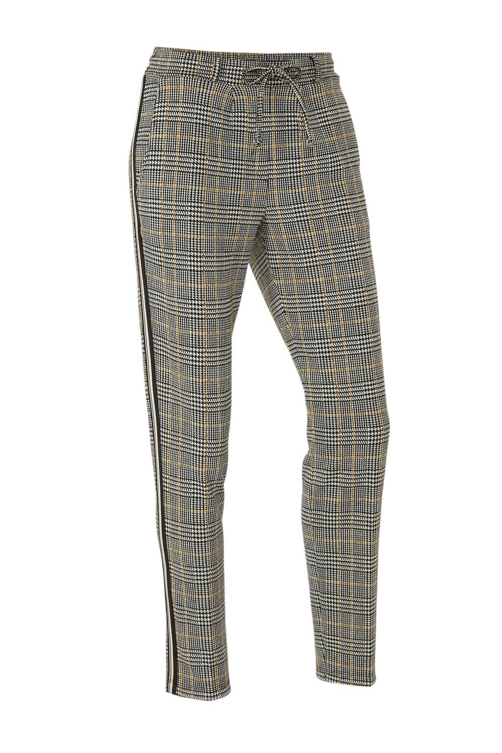Tom Tailor geruite slim fit broek met zijstreep zwart/wit, Zwart/wit