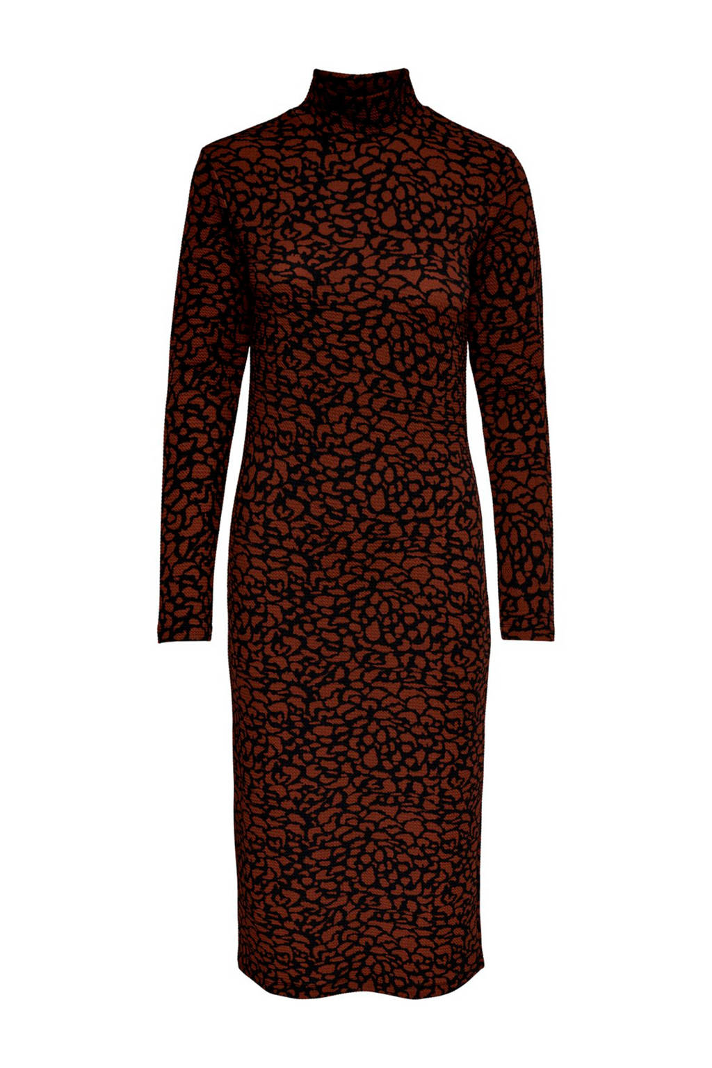 JACQUELINE DE YONG jersey jurk met all over print zwart/bruin, Zwart/bruin