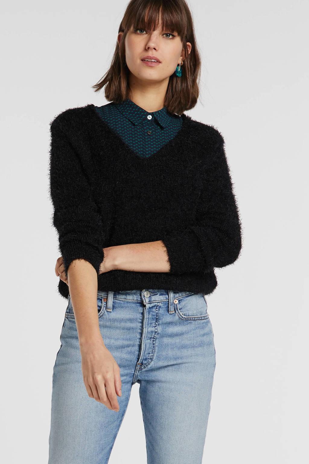 JACQUELINE DE YONG fijngebreide trui zwart, Zwart