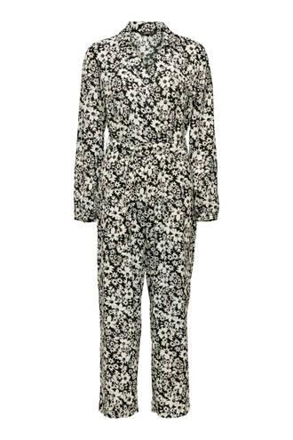 gebloemde jumpsuit wit/zwart