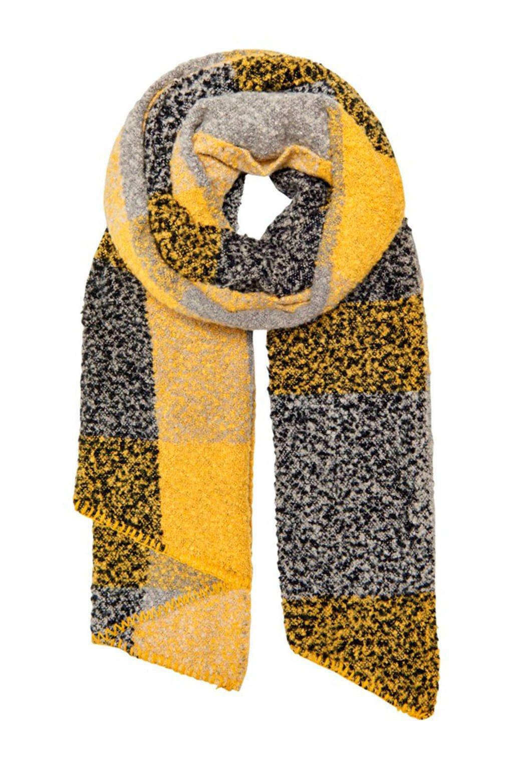 ONLY gemeléerde sjaal geel, Geel/Grijs/Zwart