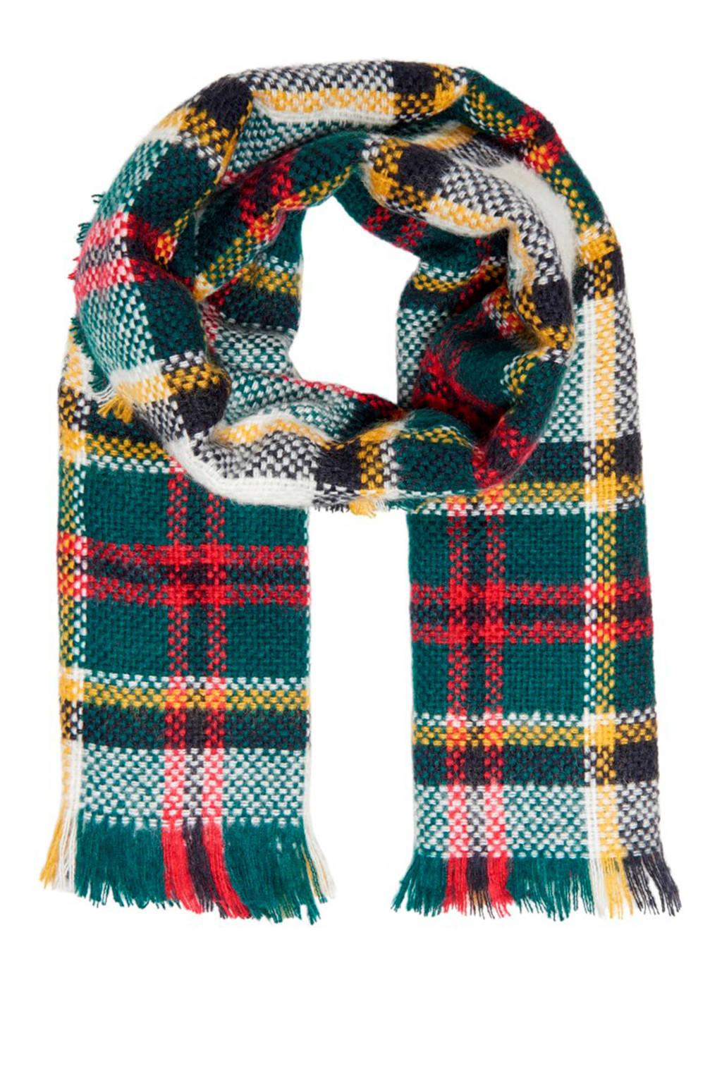 ONLY geruiten sjaal Gina groen, Wit