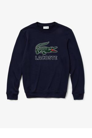 sweater met logo marine/groen/wit