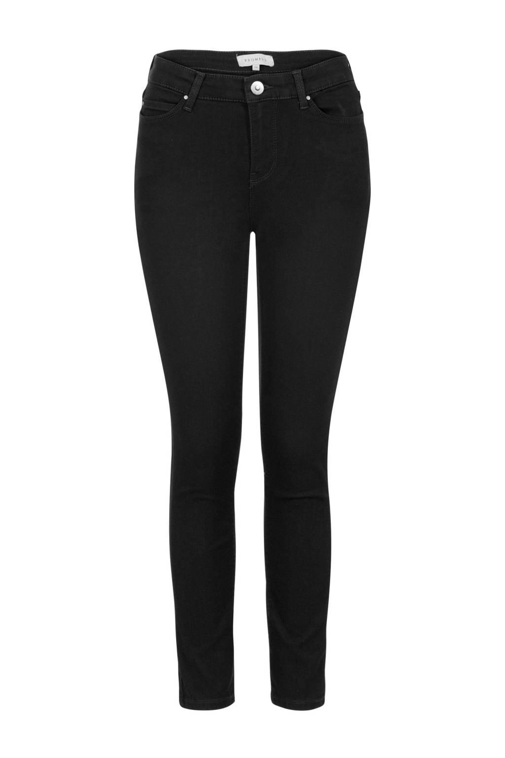 PROMISS cropped slim fit jeans zwart, Zwart