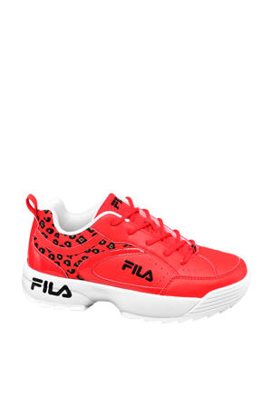 chunky sneakers rood/panterprint