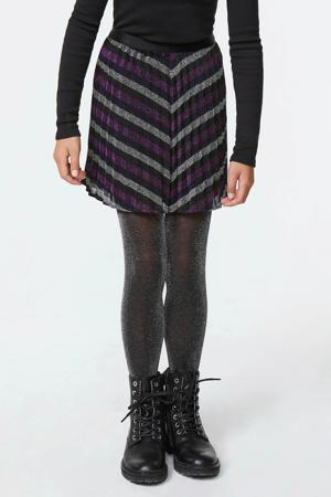 plissé rok met all over print zwart/ paars