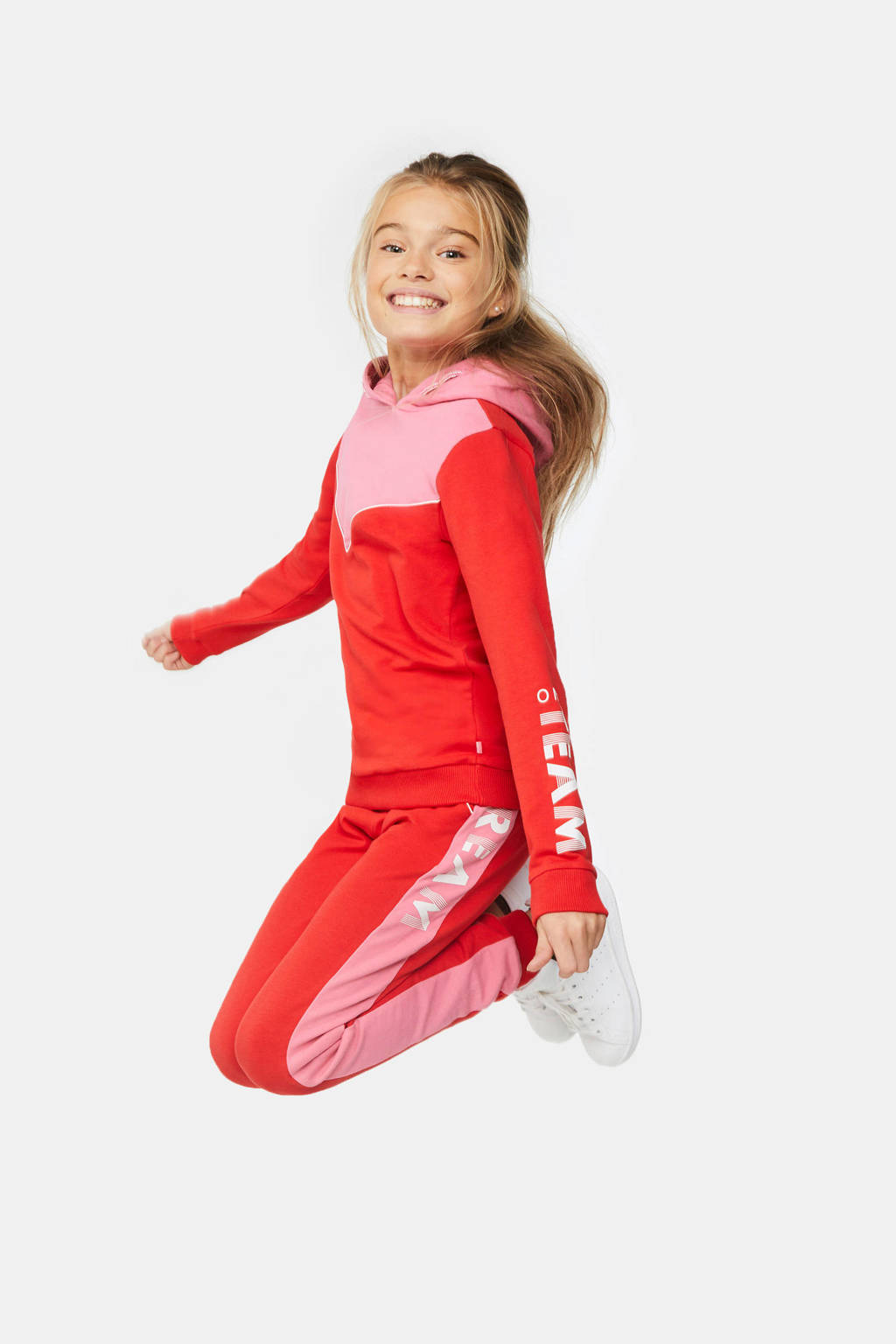 WE Fashion hoodie rood/roze/wit, Rood/roze/wit