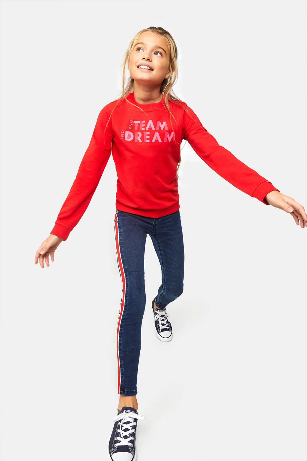 WE Fashion sweater met tekst rood/roze, Rood/roze