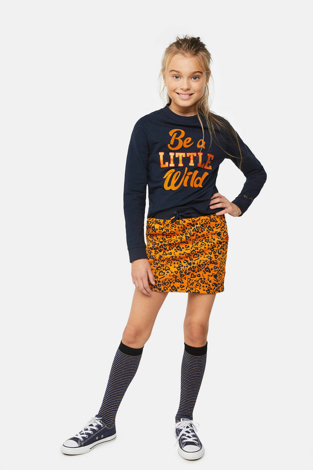 WE Fashion sweater met tekst en glitters donkerblauw/oranje/rood, Donkerblauw/oranje/rood