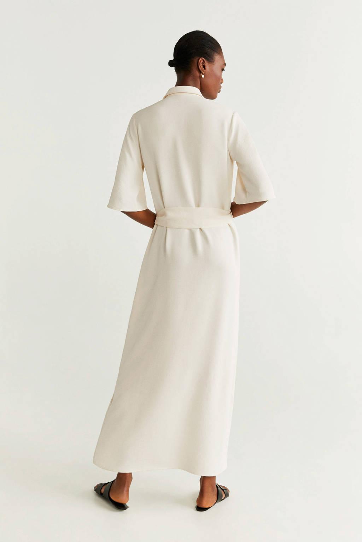 Mango jurk met ceintuur wit, Wit