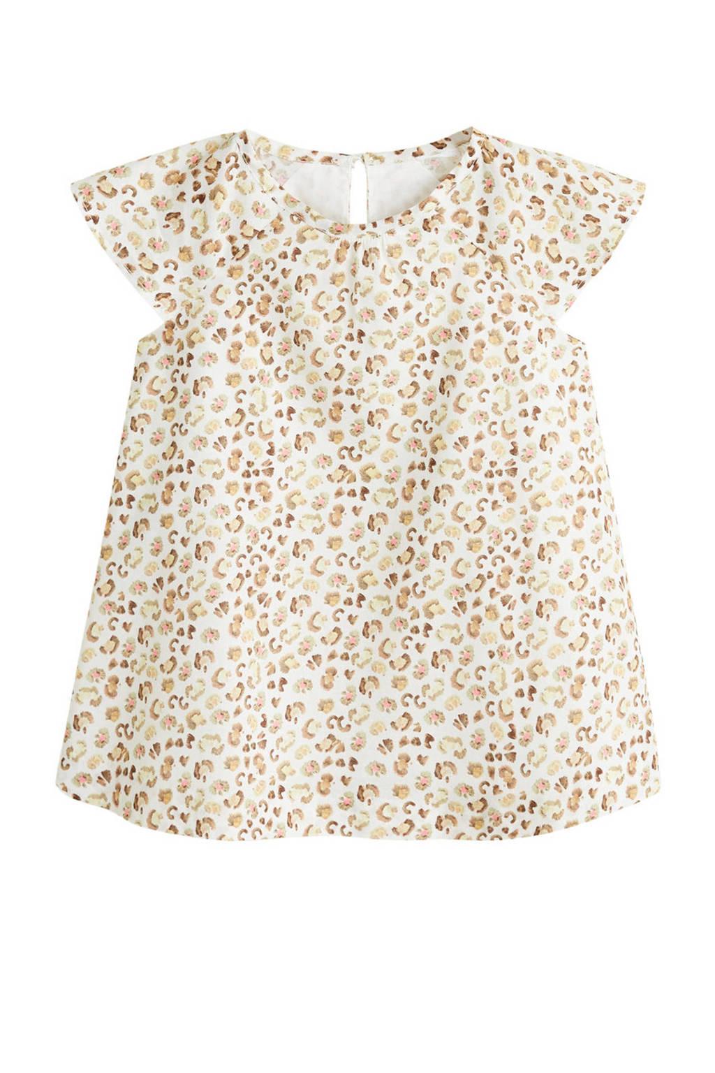 Mango Kids jurk met panterprint ecru, Ecru/beige