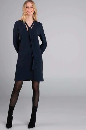 jurk met zijsplitten donkerblauw