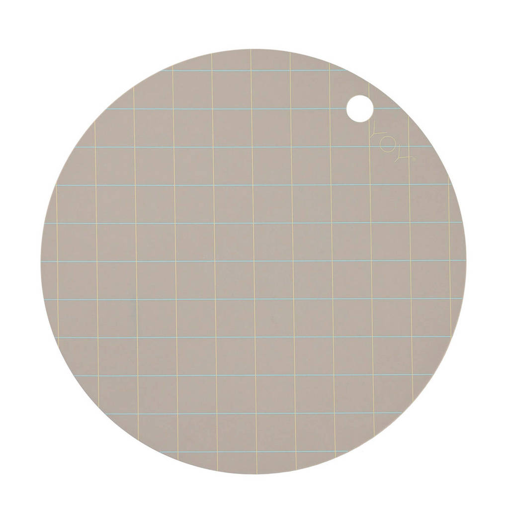 OYOY Living placemat (Ø39 cm) (set van 2), Bruin/grijs