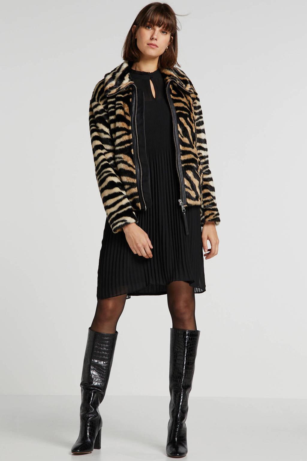 Giacomo imitatiebont winterjas met zebraprint bruin/zwart, Bruin/zwart