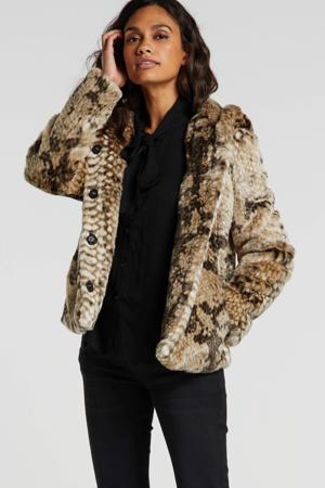 imitatiebont winterjas met slangenprint grijs/beige/zwart