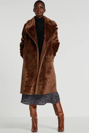omkeerbare imitatiebont winterjas bruin