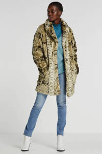Giacomo imitatiebont winterjas met all over print grijs/zwart/ecru, Grijs/zwart/ecru