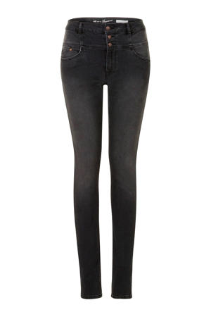 high waist slim fit jeans zwart