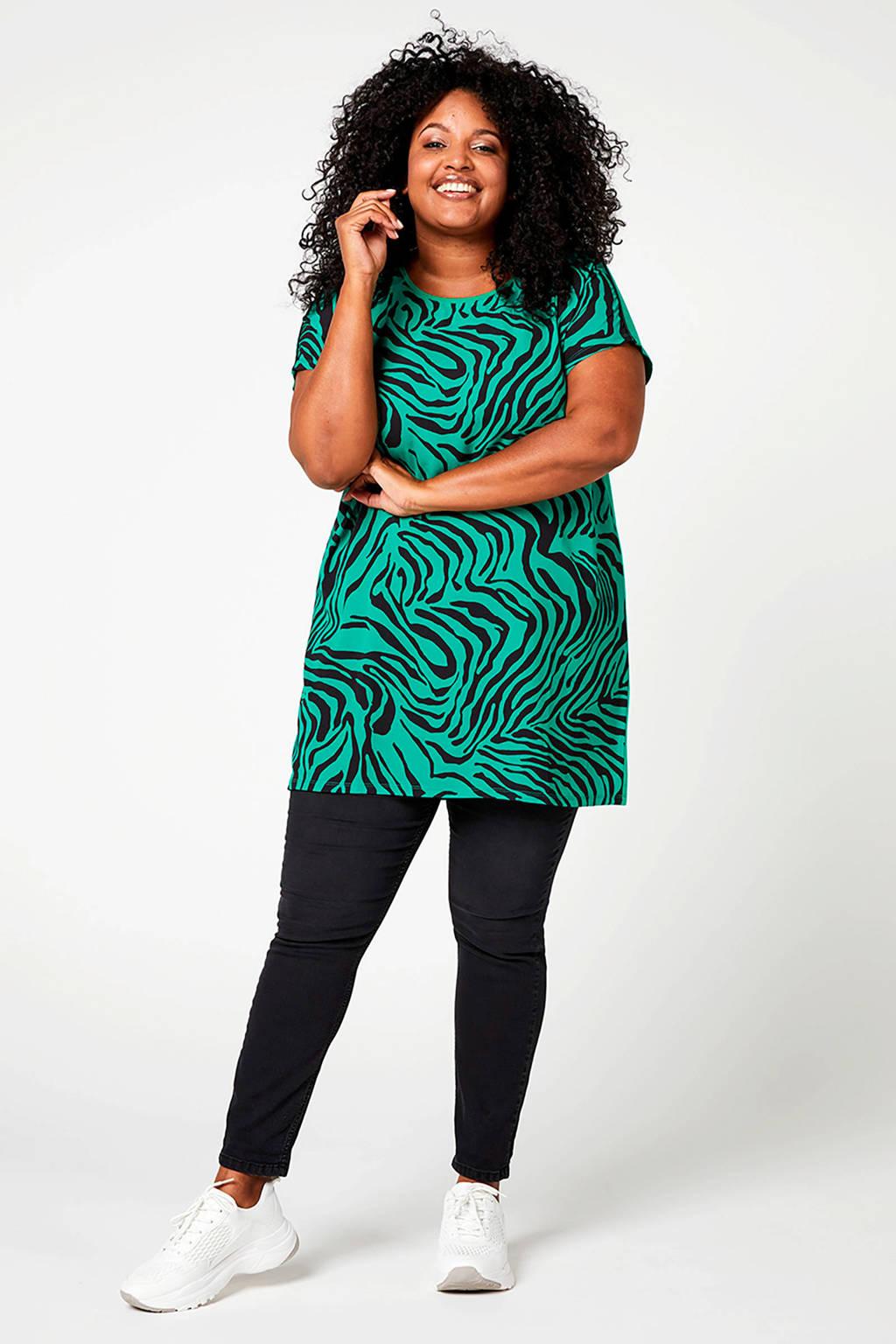 Miss Etam Plus T-shirt met zebraprint groen/zwart, Groen/zwart