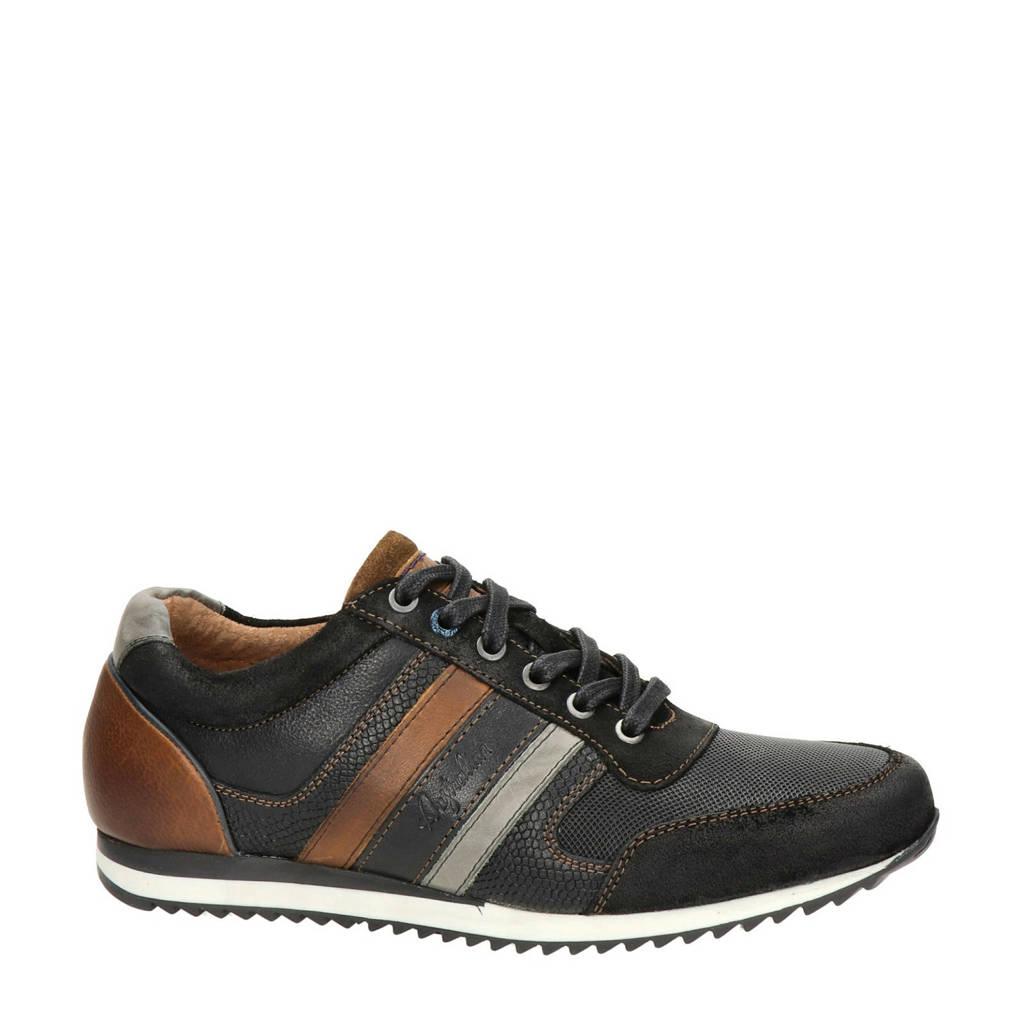 Australian  Cornwell leren sneakers zwart/bruin, Zwart/bruin