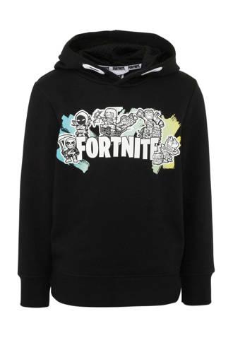 Here & There Fortnite hoodie met printopdruk zwart